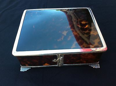 English Sterling & Faux Tortoise shell (Bakelite) Fitted/Lined Dresser Box 1919