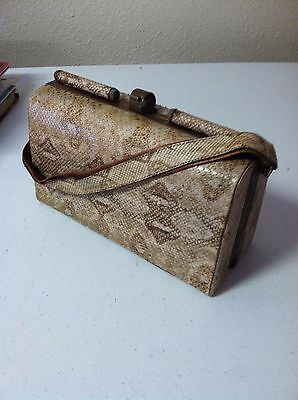 vintage 1940's real python skin ladies handbag/purse