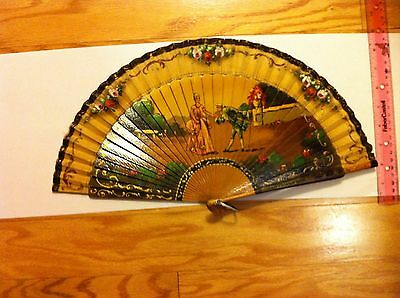 Antique Painted Victorian Hand Fan