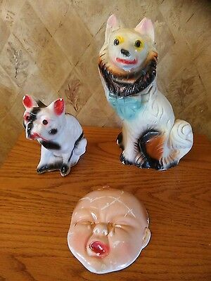Lot of 3 dogs baby 1930's/50's Vintage Chalkware Figure Carnival Souvenir