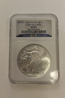 2010 NGC MS69 AMERICAN SILVER EAGLE Years of 25 Silver Eagle Mint Sealed