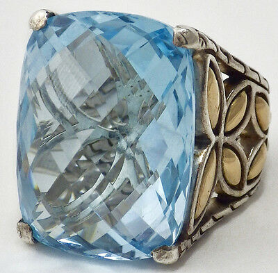 John Hardy Batu Kawung Collection 18K Yellow Gold Sterling Blue Topaz Ring