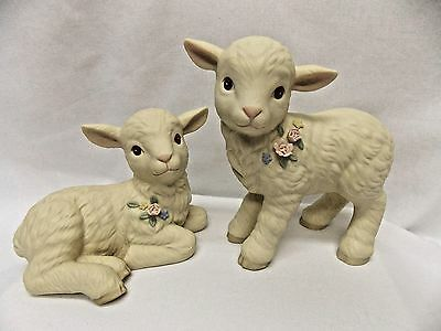 Two Little Lambs with Flower Decoration Porcelain Material Laying/Standing Nice
