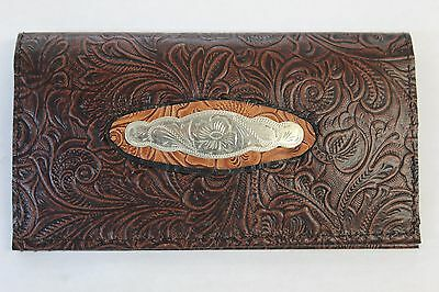 Alpaca Silver Concho Chocolate Western  Cowhide  Leather Checkbook Cover Fr Sh