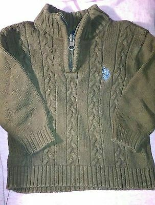 Baby Ralph Lauren Polo 18 months Ski style Sweater Boy Brown Cable Zipper