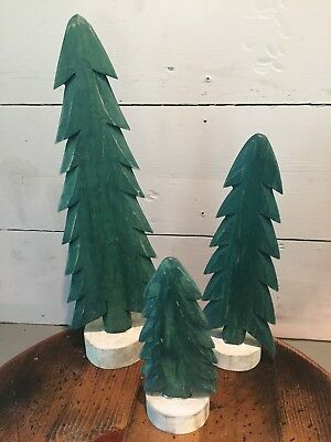 LOT OF 3 - Wooden Christmas Tree Wood Handmade Display PRIMITIVE FOLK VARIOUS