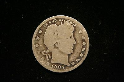 1907 D Barber Silver Quarter, US Coin , GOOD , Free Shipping!