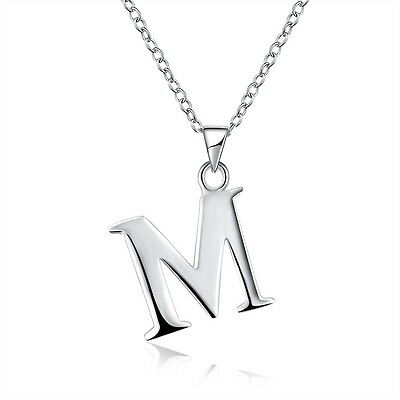 "Women's Letter M Pendant Necklace Silver Plated 18"" Link  Fashion Jewelry New"