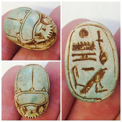 Rare Egyptian Carved Glazed Scarab Bead Seal 300 B.c.
