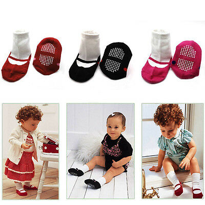 Baby Newborn Infant Girl Ballet Shoe Shape Non-skid Anti Slip Rubber Sole Socks