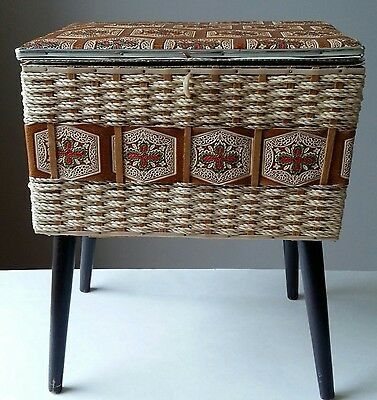 Vintage Eaton's Woven Decorated Sewing Basket On Legs Mid Century Japan