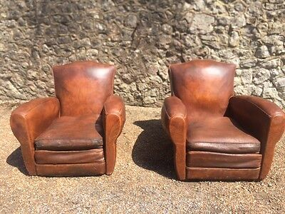 A Pair Of French Rare Original Moustache Back Leather Club Chairs