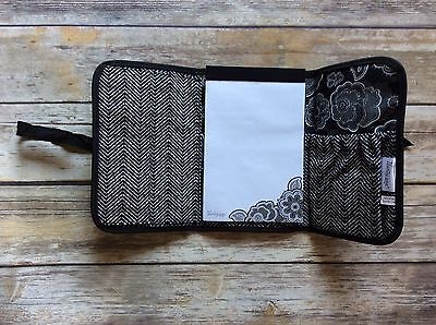 Thirty One Black Fold And Go Organizer With Notebook Tie Closure