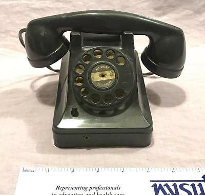 Vintage Air Champ Telephone Toy Phone Black Battery Operated Tin And Bakelite?