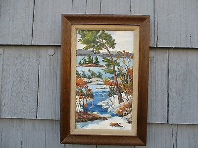 Framed Vintage Mid-Century Signed Oil on Canvas Landscape Painting