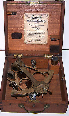 1952 SESTREL Marine Nautical Sextant by Henry Browne Orig. Wooden Case - RARE