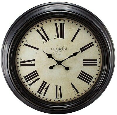 La Crosse Large 23 Round Brown Antique Wall Clock with Roman Numerals New!