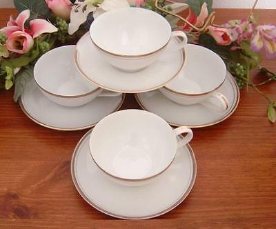 4 Royalton China Co Golden Elegance Cups & Saucers Translucent Porcelain Japan