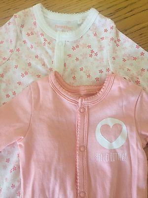 BNWOT Baby Girl Baby Grow X2 Peach/Floral 3-6 Months