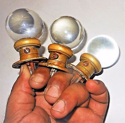Set of 3 Antique Victorian Round Ball Clear Glass Cabinet Knobs w/ Brass Shanks