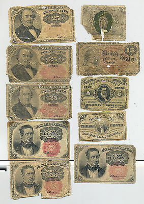 A group lot of ten circulated fractional banknotes
