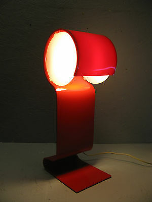 Pop Art Glo-Up Lamp   1969 John Berezowsky Douglas Ball Thermo Form Red Acrylic