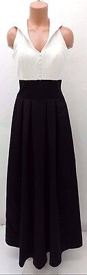 2 Be Social Cream and Black Two Tone Satin Gown Size 6 NWD Retail $252