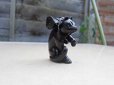 Fine Early 20th c Japanese HardWood Carved Netsuke Cat  - Signed