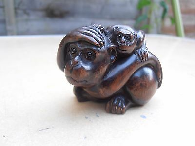 Fine Early 20th c Japanese Wood Carved Netsuke Monkey with baby   - Signed