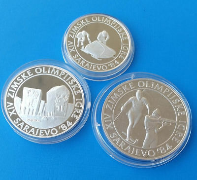 Yugoslavia 100, 250, 500 Dinara 1983 Sarajevo Olympic games Silver Proof set 3