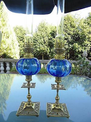 A Perfect Matching Pair Of Fine Quality Blue French Style Oil Lamps