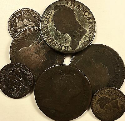 RARE LOT Late 1700's France 1 & 5 Centimes Coins See List