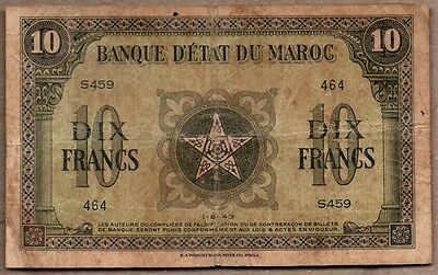Morocco VG/F Note 10 Francs 1943 P-25