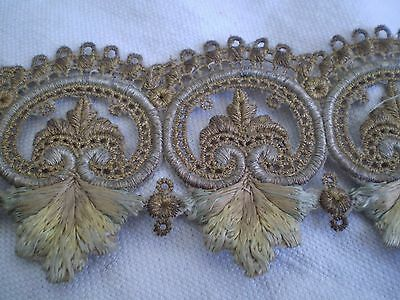 Vintage Embroidered With METALLIC THREAD Motif