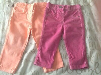 Baby Girls Trousers (2 pair) (9-12 months)