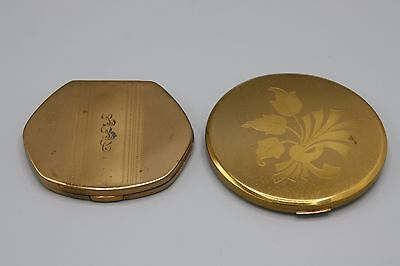Pair of Flapjack Compacts Hexagonal and Round Floral Monogrammed Unsigned
