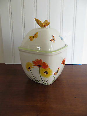 Harry & David 2006 Butterfly Covered Jar Container Tea Cookie Spring Flowers