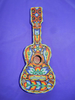 Huichol Indian Hand Beaded GUITAR from Tepic Nayarit Mexico 13.5 inches tall