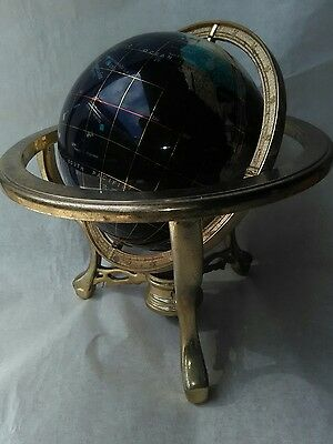 Semi Precious Lapis Blue Gemstone World Globe & Compass