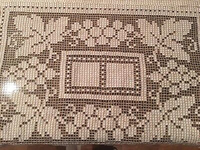 Vintage Woven Table Runner And Doily Cream Brown Grapes Leaves