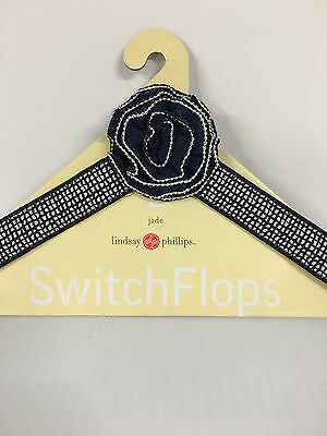 Lindsay Phillips SwitchFlops Size Large Navy Silver