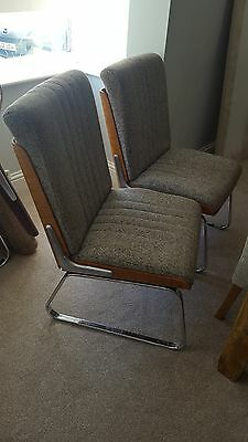Pair of Vintage Gordon Russell /Martin Stoll retro chairs grey teak
