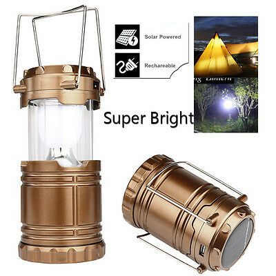 Solar USB Charging Rechargeable Outdoor Camping Tent Lantern Light 6 LED Lamp