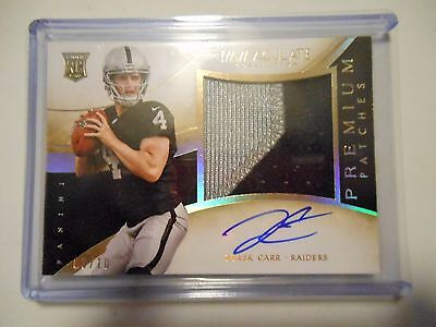 2014 Derek Carr Immaculate autograph auto jersey patch RC rookie card #   /10
