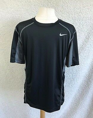 Nike Dri Fit Men's size Large Shirt Black & Gray Short Sleeve Shirt Top A1
