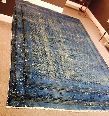 HandKnotted Semi Antique Turkish or Persian Overdyed Blue Wool Rug 11x7 Oriental