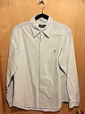 Polo Ralph Lauren Men's 100% Cotton Blue Stripe Button-Front Shirt *new