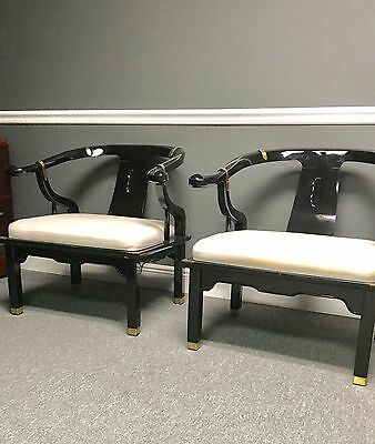 James Mont, Chinese style, Mid-Century pair armchairs black lacquer brass accent