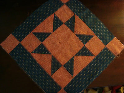 ANTIQUE RED WHITE and BLUE CIVIL WAR ERA STAR QUILT BLOCK ~ LANCASTER COUNTY PA