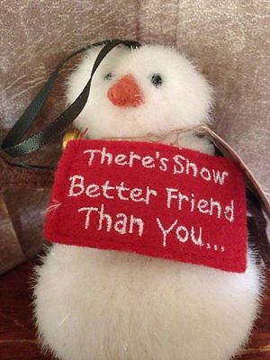 BOYDS ORNAMENT PLUSH SNOWMan holding sign SNOW BETTER FRIEND Than you *3-812B
